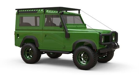 Green old small SUV tuned for difficult routes and expeditions. 3d rendering Foto de archivo - 129163684