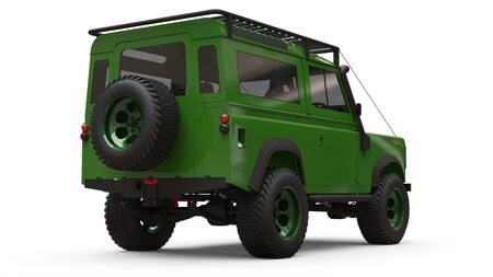 Green old small SUV tuned for difficult routes and expeditions. 3d rendering Foto de archivo - 129163683