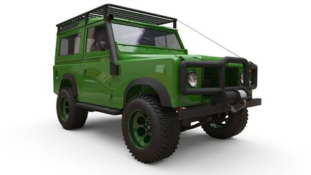 Green old small SUV tuned for difficult routes and expeditions. 3d rendering Foto de archivo - 129163685