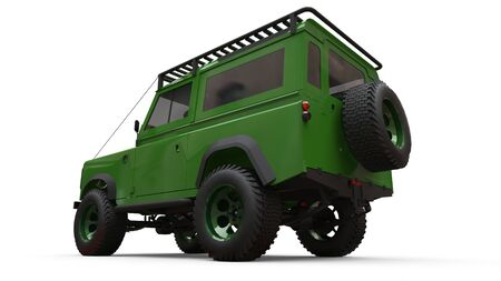 Green old small SUV tuned for difficult routes and expeditions. 3d rendering Foto de archivo - 129163687