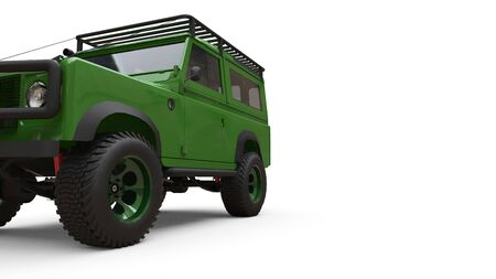 Green old small SUV tuned for difficult routes and expeditions. 3d rendering Foto de archivo - 129163690