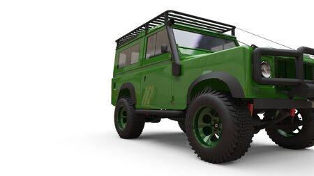 Green old small SUV tuned for difficult routes and expeditions. 3d rendering Foto de archivo - 129163693