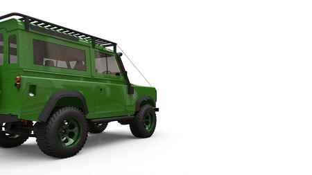 Green old small SUV tuned for difficult routes and expeditions. 3d rendering Foto de archivo - 129163787