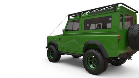 Green old small SUV tuned for difficult routes and expeditions. 3d rendering Foto de archivo - 129163786