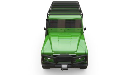 Green old small SUV tuned for difficult routes and expeditions. 3d rendering Foto de archivo - 129163793