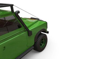 Green old small SUV tuned for difficult routes and expeditions. 3d rendering Foto de archivo - 129163794