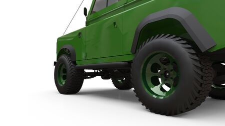 Green old small SUV tuned for difficult routes and expeditions. 3d rendering Foto de archivo - 129163797