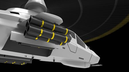 Modern army helicopter in flight with a full complement of weapons on a black background. 3d illustration