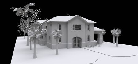 Large house with garden and pool. 3d model in white on a black background. 3d illustration