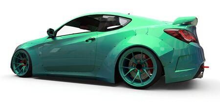 Green small sports car coupe. 3d rendering Фото со стока