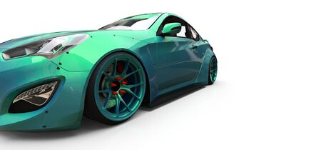 Green small sports car coupe. 3d rendering Stockfoto