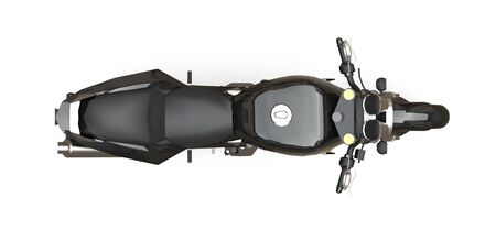 Black urban sport two-seater motorcycle on a white background. 3d illustration Zdjęcie Seryjne - 129266860