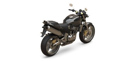 Black urban sport two-seater motorcycle on a white background. 3d illustration