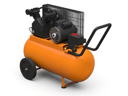 Orange horizontal air compressor isolated on a white background. 3d illustration Stock Photo