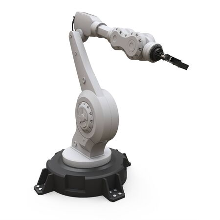 Robotic arm for any work in a factory or production. Mechatronic equipment for complex tasks. 3d illustration Zdjęcie Seryjne