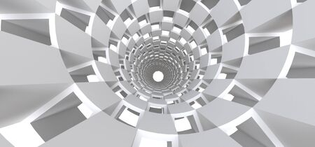 Long white tunnel as an abstract background for your design. 3d illusration Standard-Bild - 129266885