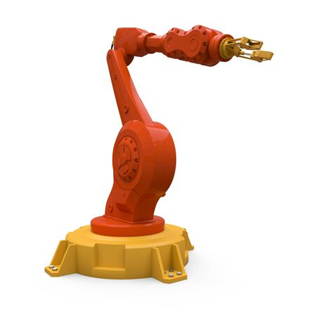 Robotic orange arm for any work in a factory or production. Mechatronic equipment for complex tasks. 3d illustration Zdjęcie Seryjne