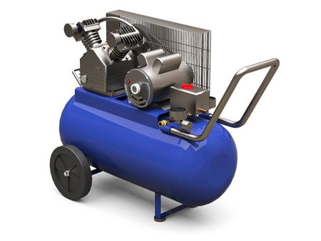 Blue horizontal air compressor isolated on a white background. 3d illustration