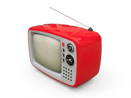 Cute old red tv with antenna on a white background. 3d illustration