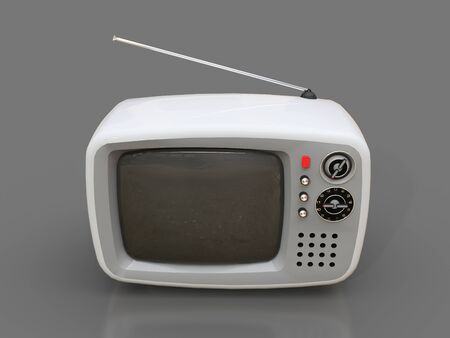 Cute old white tv with antenna on a grey background. 3d illustration