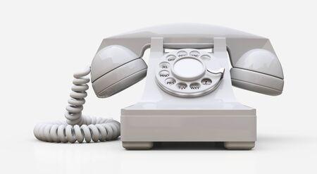 Vieux téléphone à cadran blanc sur fond blanc. illustration 3D