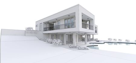 3d modern house, on white background. 3d illustration 写真素材