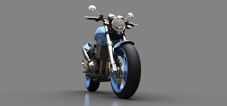 Blue urban sport two-seater motorcycle on a gray background. 3d illustration Foto de archivo - 129829734