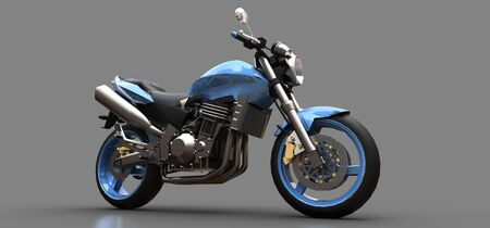 Blue urban sport two-seater motorcycle on a gray background. 3d illustration Foto de archivo - 129829735