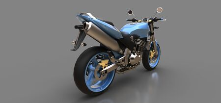 Blue urban sport two-seater motorcycle on a gray background. 3d illustration Foto de archivo - 129829736