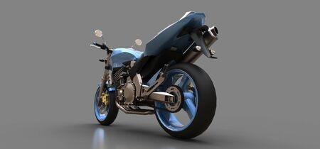 Blue urban sport two-seater motorcycle on a gray background. 3d illustration Foto de archivo - 129829737