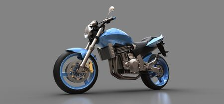 Blue urban sport two-seater motorcycle on a gray background. 3d illustration Foto de archivo - 129829738