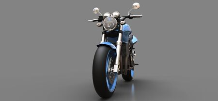 Blue urban sport two-seater motorcycle on a gray background. 3d illustration Foto de archivo - 129829739