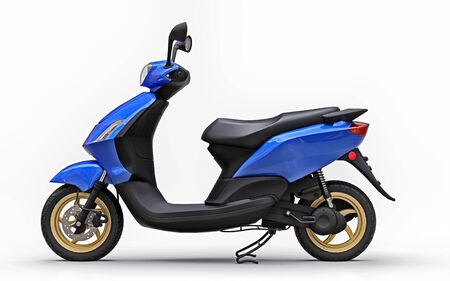 Modern urban blue moped on a white background. 3d illustration Foto de archivo - 129829741