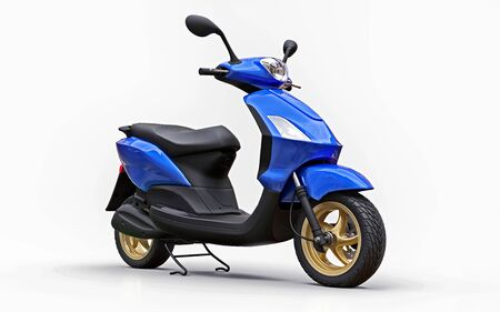 Modern urban blue moped on a white background. 3d illustration Foto de archivo - 129829742