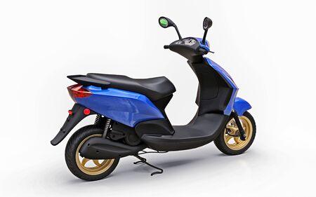 Modern urban blue moped on a white background. 3d illustration Foto de archivo - 129829743