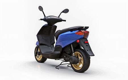 Modern urban blue moped on a white background. 3d illustration Foto de archivo - 129829744