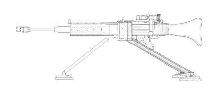 Large machine gun on a tripod with a full cassette ammunition on a white background. Schematic illustration of weapons in contour lines with a translucent body Stok Fotoğraf