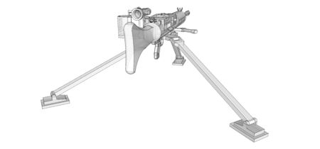 Large machine gun on a tripod with a full cassette ammunition on a white background. Schematic illustration of weapons in contour lines with a translucent body.