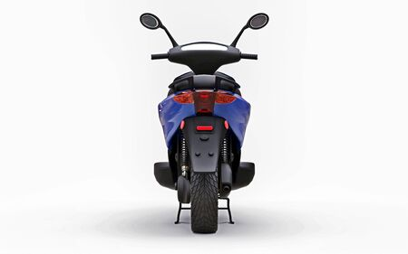 Modern urban blue moped on a white background. 3d illustration Foto de archivo - 129829802