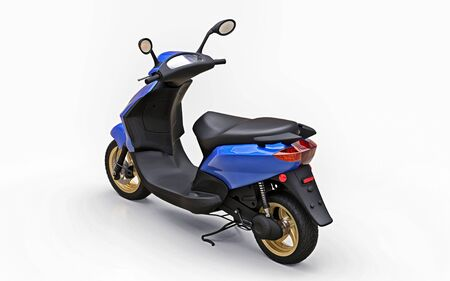 Modern urban blue moped on a white background. 3d illustration Foto de archivo - 129829803