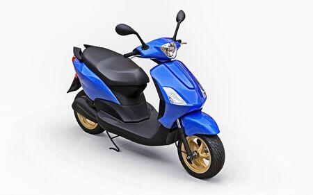 Modern urban blue moped on a white background. 3d illustration Standard-Bild - 129829804
