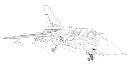Military jet fighter silhouettes. Image of aircraft in contour drawing lines. The internal structure of the aircraft. 3d rendering. Stockfoto