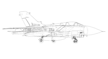 Military jet fighter silhouettes. Image of aircraft in contour drawing lines. The internal structure of the aircraft. 3d rendering. Stockfoto - 129829853