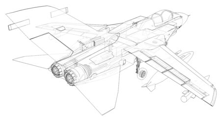 Military jet fighter silhouettes. Image of aircraft in contour drawing lines. The internal structure of the aircraft. 3d rendering. 版權商用圖片