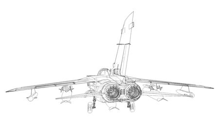 Military jet fighter silhouettes. Image of aircraft in contour drawing lines. The internal structure of the aircraft. 3d rendering. Stockfoto - 129829868