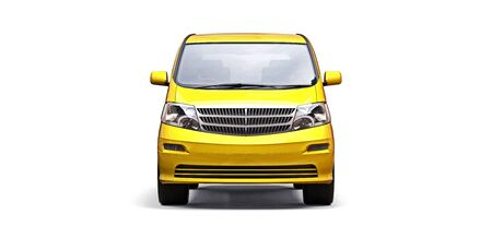 Yellow small minivan for transportation of people. Three-dimensional illustration on a white background. 3d rendering Stok Fotoğraf