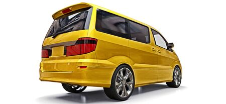 Yellow small minivan for transportation of people. Three-dimensional illustration on a white background. 3d rendering Stock Photo