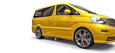 Yellow small minivan for transportation of people. Three-dimensional illustration on a white background. 3d rendering.