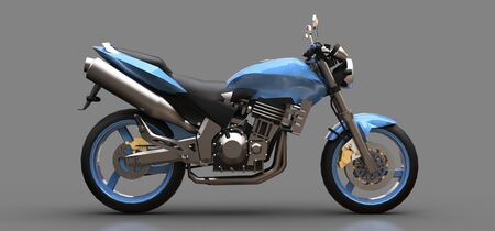 Blue urban sport two-seater motorcycle on a gray background. 3d illustration. Foto de archivo - 129829907