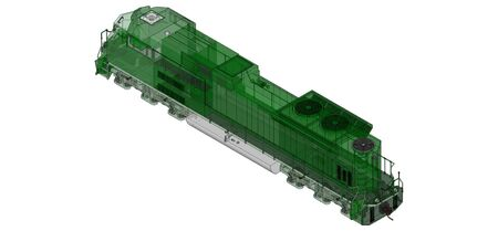 Modern green diesel railway locomotive with great power and strength for moving long and heavy railroad train. 3d rendering.